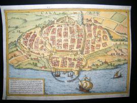 Braun & Hogenberg C1598 Hand Colored Birds Eye View. Cagliari, Sardinia, Sicily